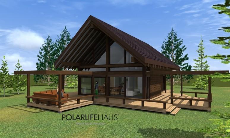 maison bois à Aucun - Polarlifehaus - face avant